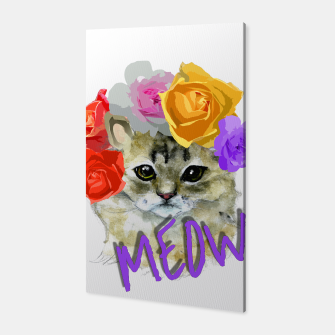 Thumbnail image of Cute Kitty Cat Meow Floral Graphic Canvas, Live Heroes
