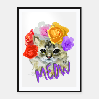 Thumbnail image of Cute Kitty Cat Meow Floral Graphic Framed poster, Live Heroes