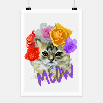 Thumbnail image of Cute Kitty Cat Meow Floral Graphic Poster, Live Heroes