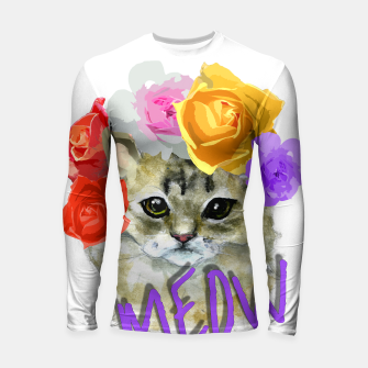 Thumbnail image of Cute Kitty Cat Meow Floral Graphic Longsleeve Rashguard , Live Heroes