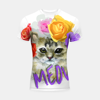 Thumbnail image of Cute Kitty Cat Meow Floral Graphic Shortsleeve Rashguard, Live Heroes
