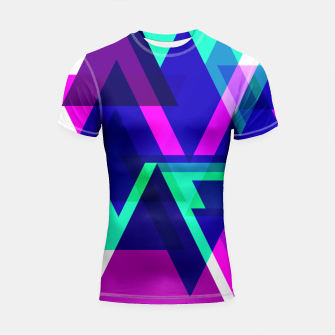 Thumbnail image of Geometric Angular Modern Abstract Patterned Shortsleeve Rashguard, Live Heroes