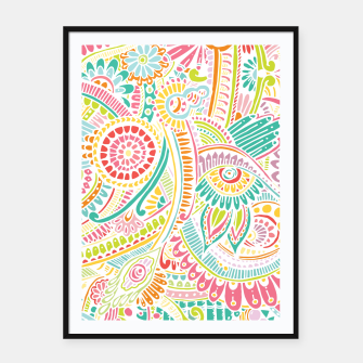 Thumbnail image of zz0101 Whimsical Pink Hippie Flower pattern Framed poster, Live Heroes