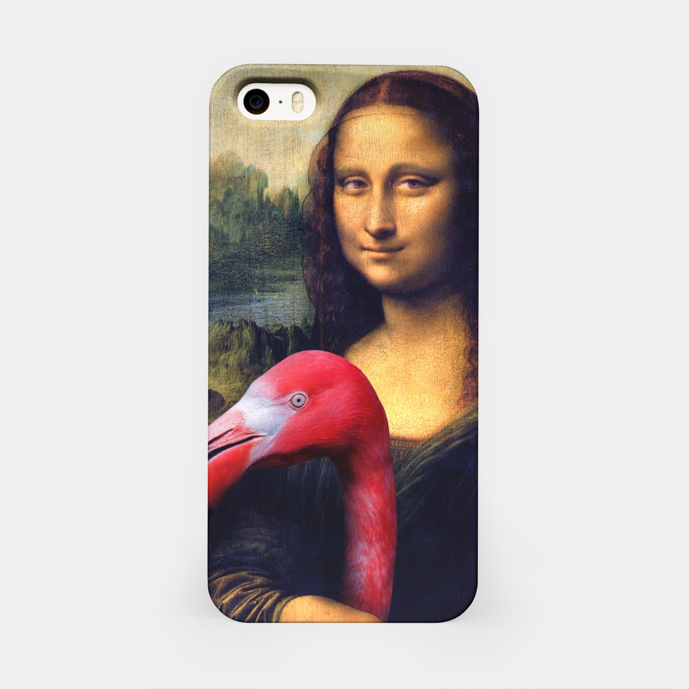 Image of Mona Lisa and Her Flamingo iPhone Case - Live Heroes