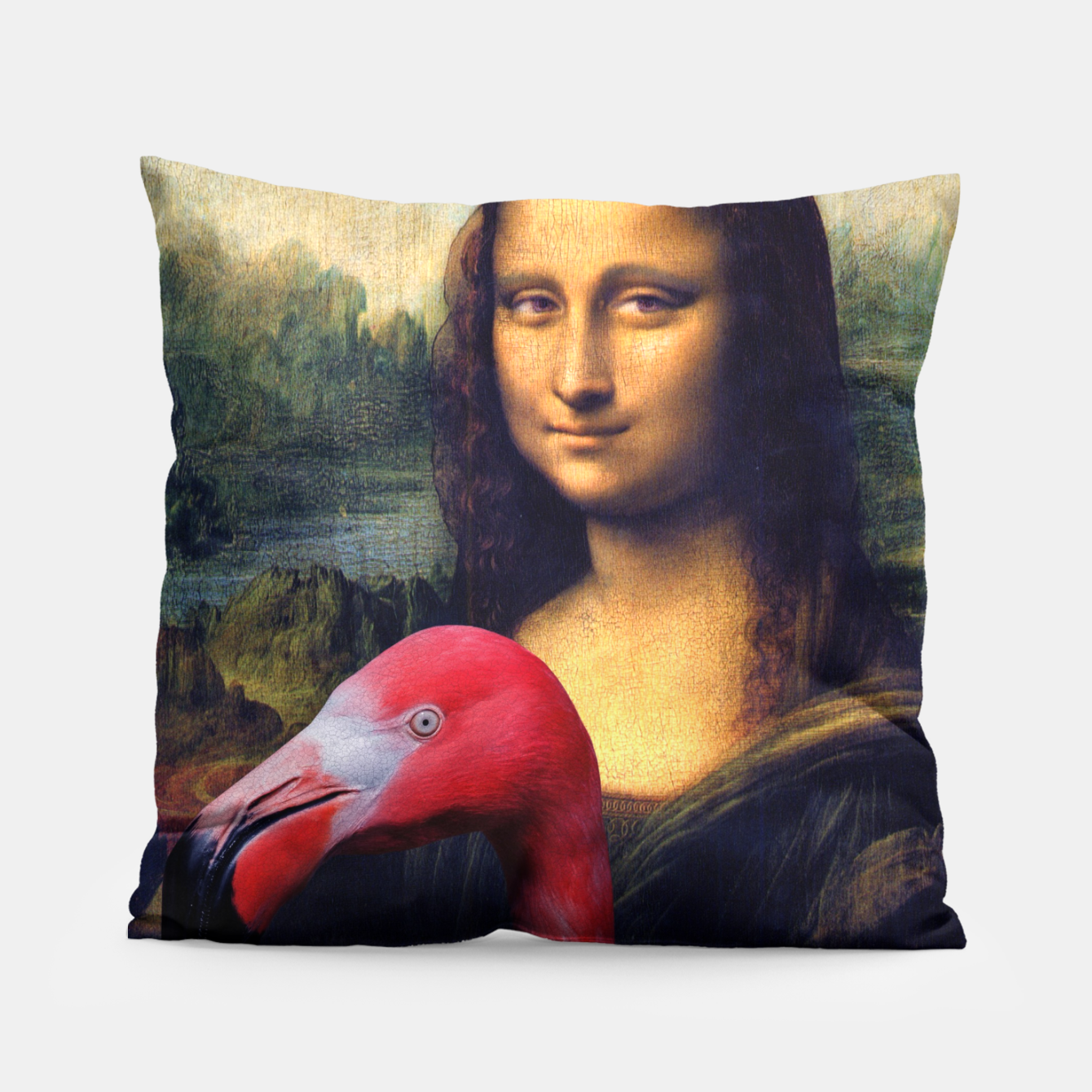 Image of Mona Lisa and Her Flamingo Pillow - Live Heroes