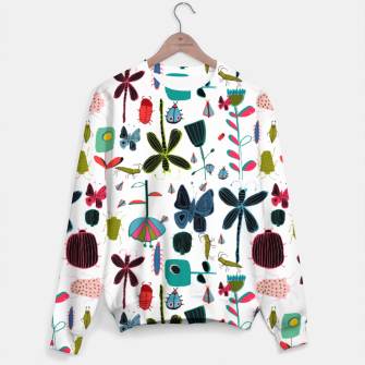 Miniatur Insect and bugs white Sweater, Live Heroes