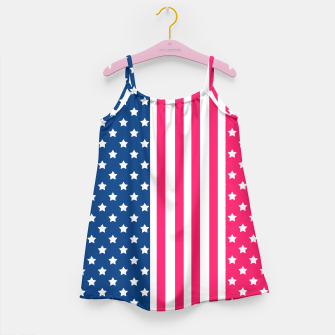 Thumbnail image of Abstract Patriotic pattern design Girl's Dress, Live Heroes