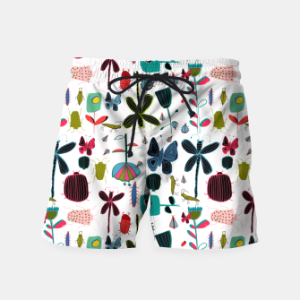 Miniatur Insect and bugs white Swim Shorts, Live Heroes