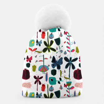 Miniatur Insect and bugs white Beanie, Live Heroes