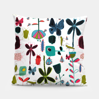 Miniatur Insect and bugs white Pillow, Live Heroes