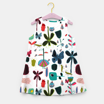 Miniatur Insect and bugs white Girl's Summer Dress, Live Heroes