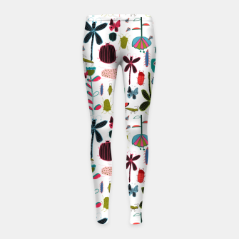 Miniatur Insect and bugs white Girl's Leggings, Live Heroes