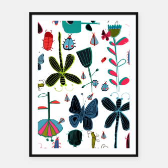 Miniatur Insect and bugs white Framed poster, Live Heroes