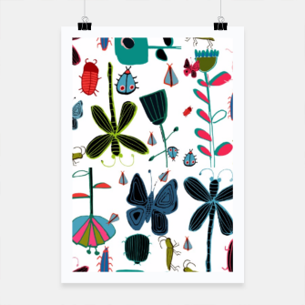 Miniatur Insect and bugs white Poster, Live Heroes