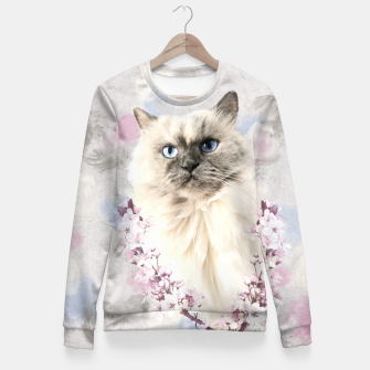 Thumbnail image of Watercolor Kitty Taillierte Sweatshirt, Live Heroes