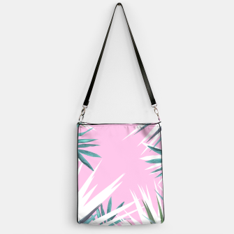 Thumbnail image of Tropical leaves pink and turquoise Handbag, Live Heroes