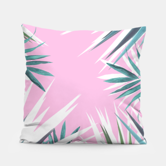 Thumbnail image of Tropical leaves pink and turquoise Pillow, Live Heroes