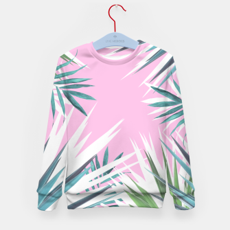 Thumbnail image of Tropical leaves pink and turquoise Kid's Sweater, Live Heroes