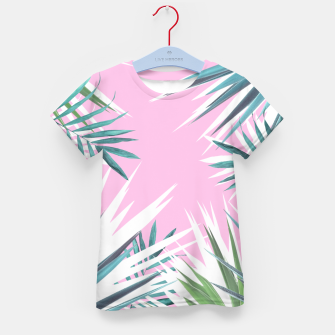 Thumbnail image of Tropical leaves pink and turquoise Kid's T-shirt, Live Heroes