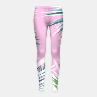 Thumbnail image of Tropical leaves pink and turquoise Girl's Leggings, Live Heroes