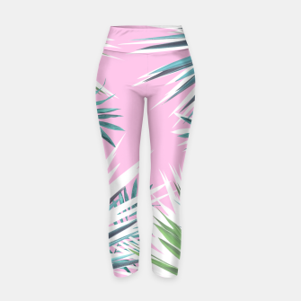 Thumbnail image of Tropical leaves pink and turquoise Yoga Pants, Live Heroes
