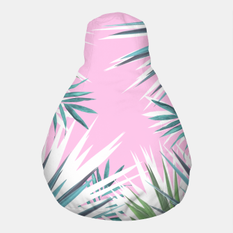 Thumbnail image of Tropical leaves pink and turquoise Pouf, Live Heroes