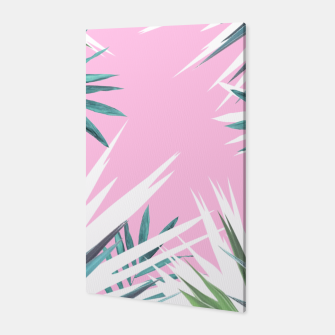 Thumbnail image of Tropical leaves pink and turquoise Canvas, Live Heroes