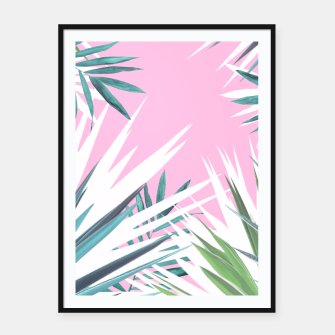 Thumbnail image of Tropical leaves pink and turquoise Framed poster, Live Heroes