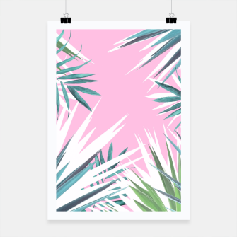 Thumbnail image of Tropical leaves pink and turquoise Poster, Live Heroes