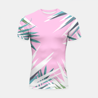 Thumbnail image of Tropical leaves pink and turquoise Shortsleeve Rashguard, Live Heroes