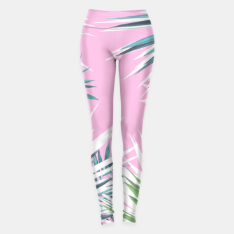 Thumbnail image of Tropical leaves pink and turquoise Leggings, Live Heroes