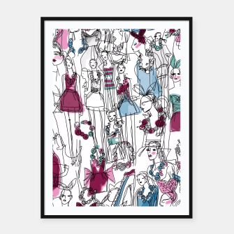 Thumbnail image of funny fashion girls pattern Framed poster, Live Heroes