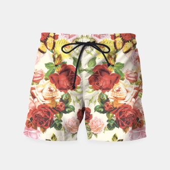 Miniatur Vintage flowers illustration Swim Shorts, Live Heroes