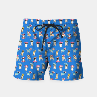 Miniatur funny dogs with glasses watercolor illustration Swim Shorts, Live Heroes