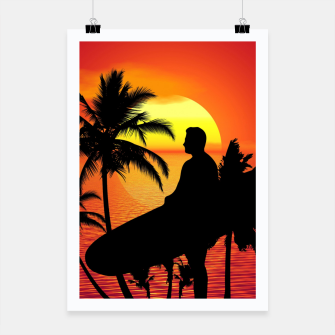 Thumbnail image of Longboard Surfer Sunset Poster, Live Heroes