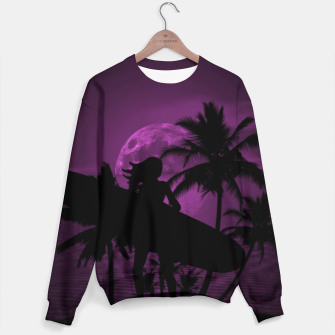 Thumbnail image of Pink Twilight Moon Longboard Surfer Chick  Sweater, Live Heroes