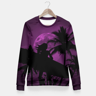 Thumbnail image of Pink Twilight Moon Longboard Surfer Chick  Fitted Waist Sweater, Live Heroes