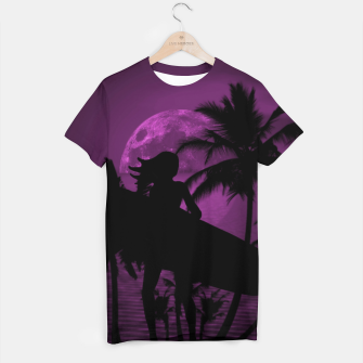 Thumbnail image of Pink Twilight Moon Longboard Surfer Chick  T-shirt, Live Heroes