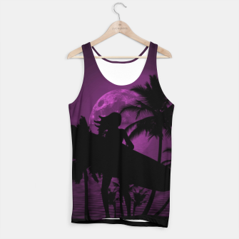 Thumbnail image of Pink Twilight Moon Longboard Surfer Chick  Tank Top, Live Heroes
