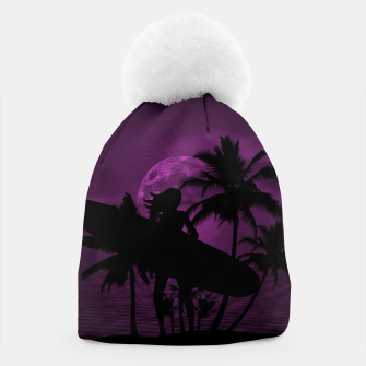 Thumbnail image of Pink Twilight Moon Longboard Surfer Chick  Beanie, Live Heroes