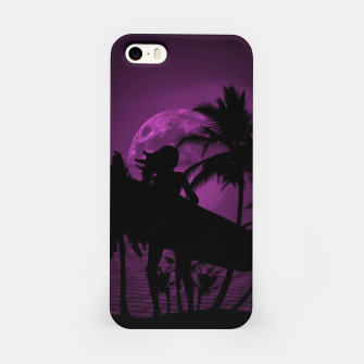 Thumbnail image of Pink Twilight Moon Longboard Surfer Chick  iPhone Case, Live Heroes