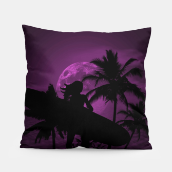 Thumbnail image of Pink Twilight Moon Longboard Surfer Chick  Pillow, Live Heroes