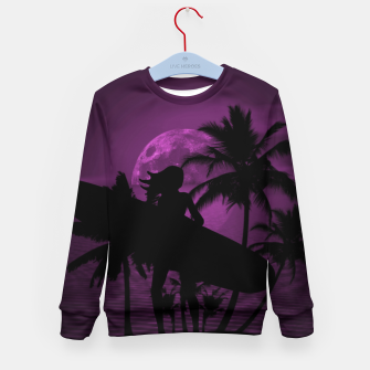 Thumbnail image of Pink Twilight Moon Longboard Surfer Chick  Kid's Sweater, Live Heroes