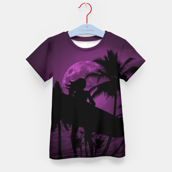 Thumbnail image of Pink Twilight Moon Longboard Surfer Chick  Kid's T-shirt, Live Heroes