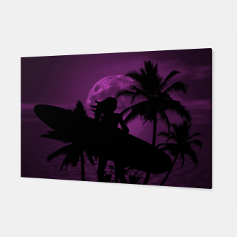 Thumbnail image of Pink Twilight Moon Longboard Surfer Chick  Canvas, Live Heroes