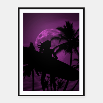 Thumbnail image of Pink Twilight Moon Longboard Surfer Chick  Framed poster, Live Heroes