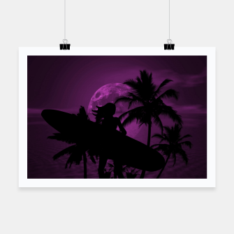 Thumbnail image of Pink Twilight Moon Longboard Surfer Chick  Poster, Live Heroes