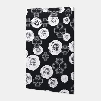 vintage skull and rose abstract pattern in black and white Canvas thumbnail image