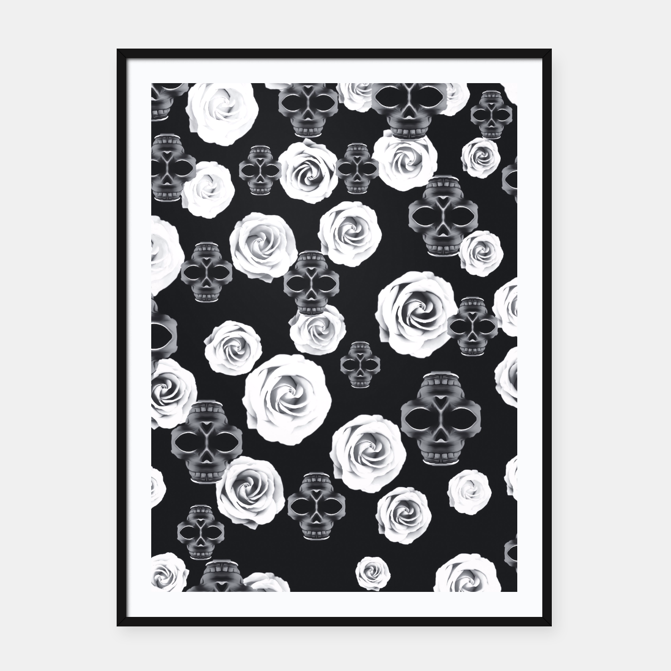 Image of vintage skull and rose abstract pattern in black and white Framed poster - Live Heroes