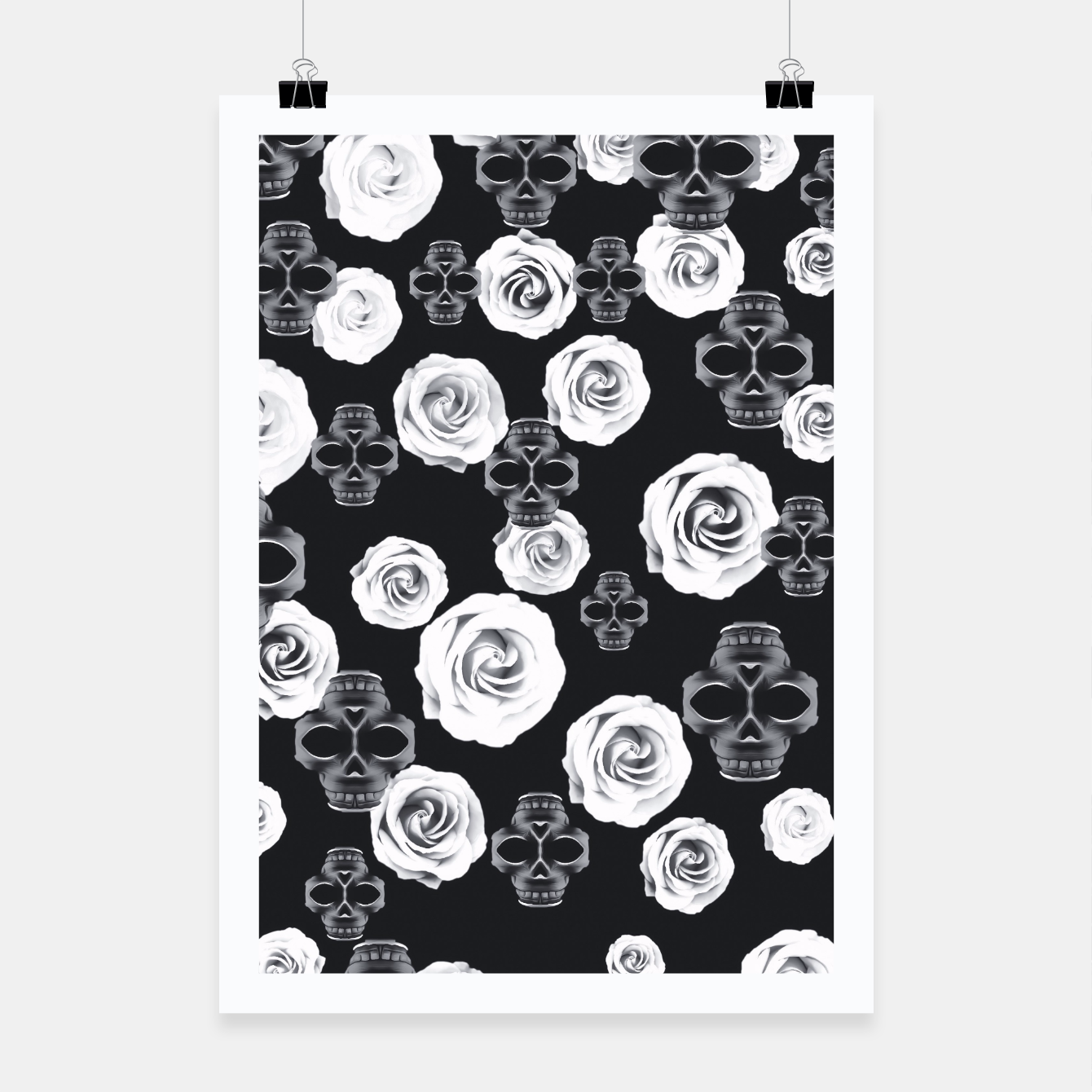 Image of vintage skull and rose abstract pattern in black and white Poster - Live Heroes